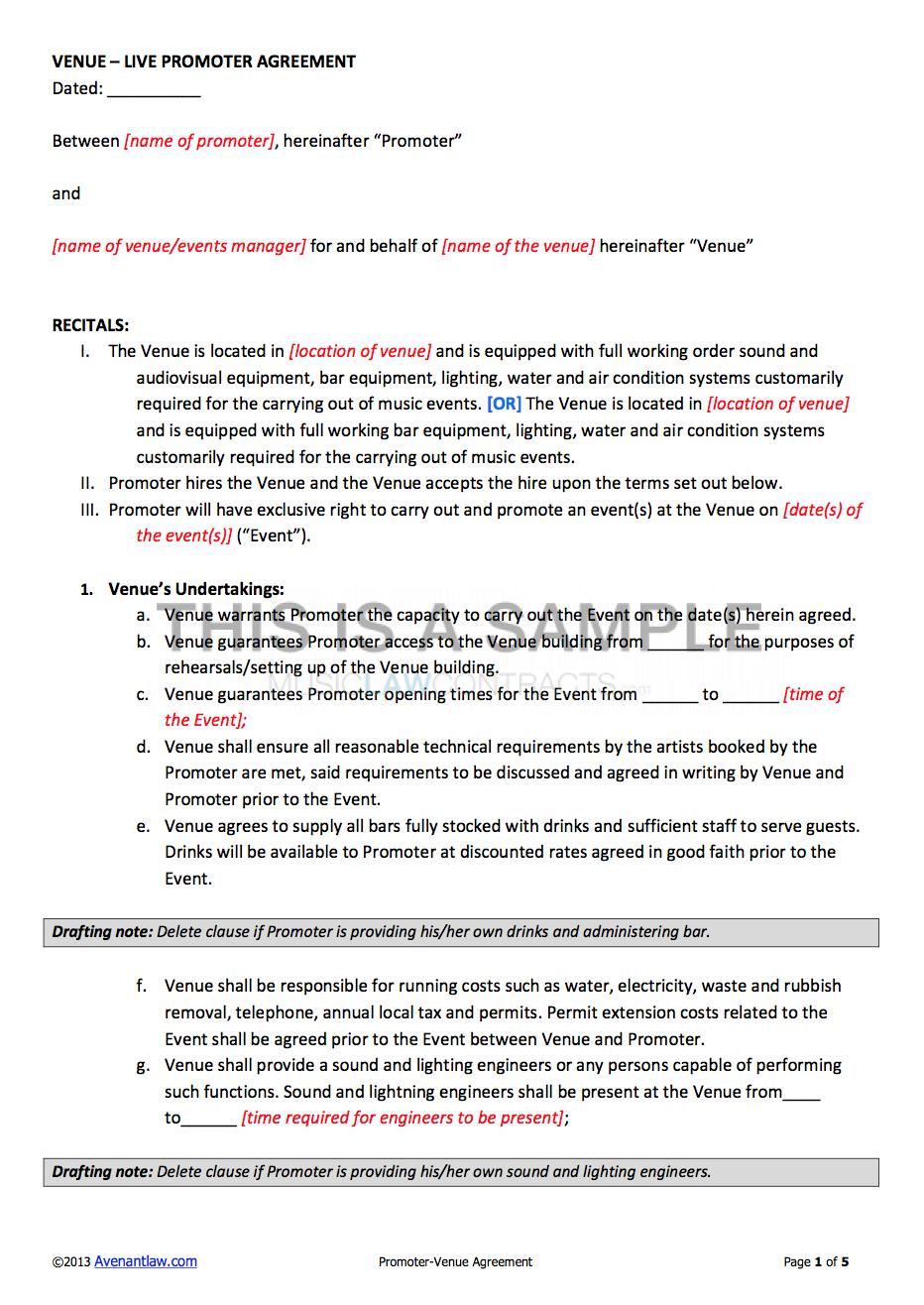 Promoter Venue Contract Template
