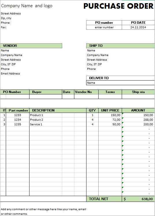 Purchase Order Template Excel Microsoft
