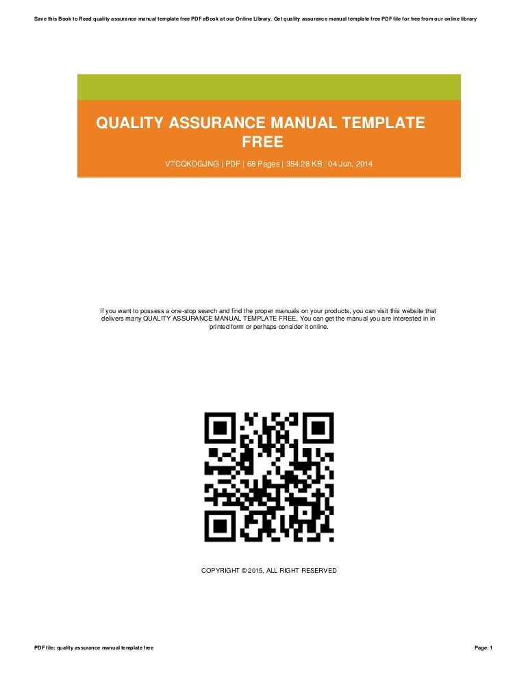 Quality Assurance Manual Template