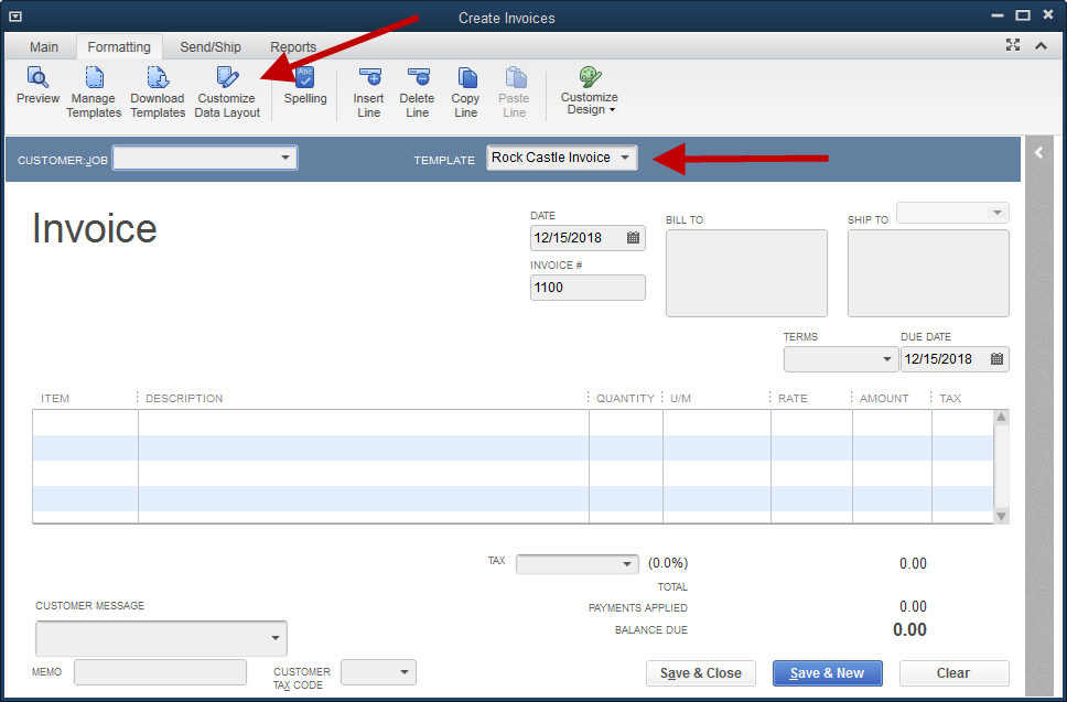 Quickbooks Create Invoice Template