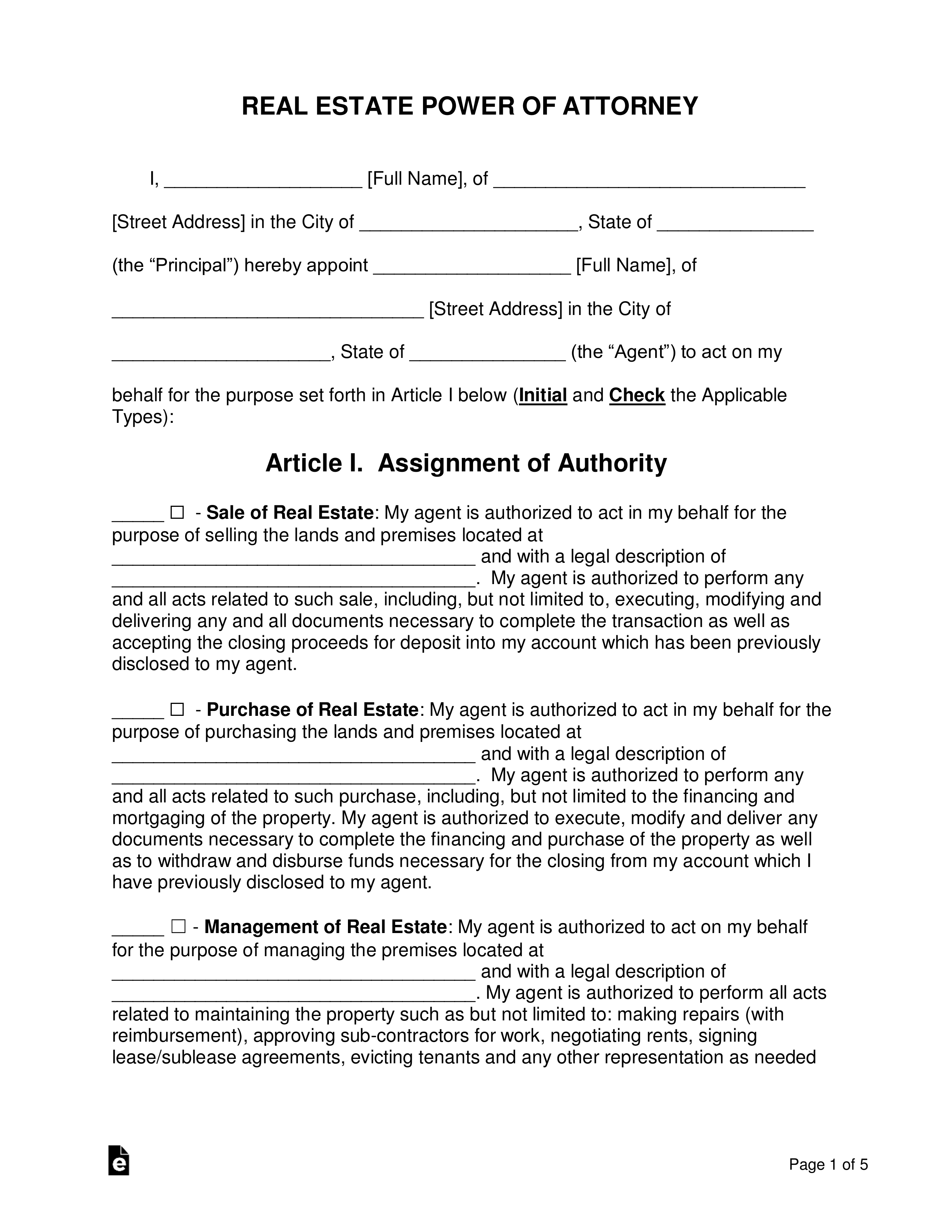Real Estate Power Of Attorney Template
