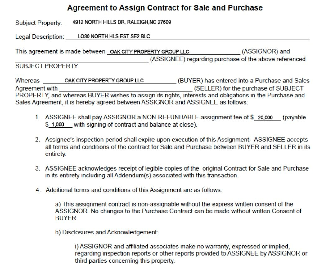 Real Estate Wholesale Contract Template