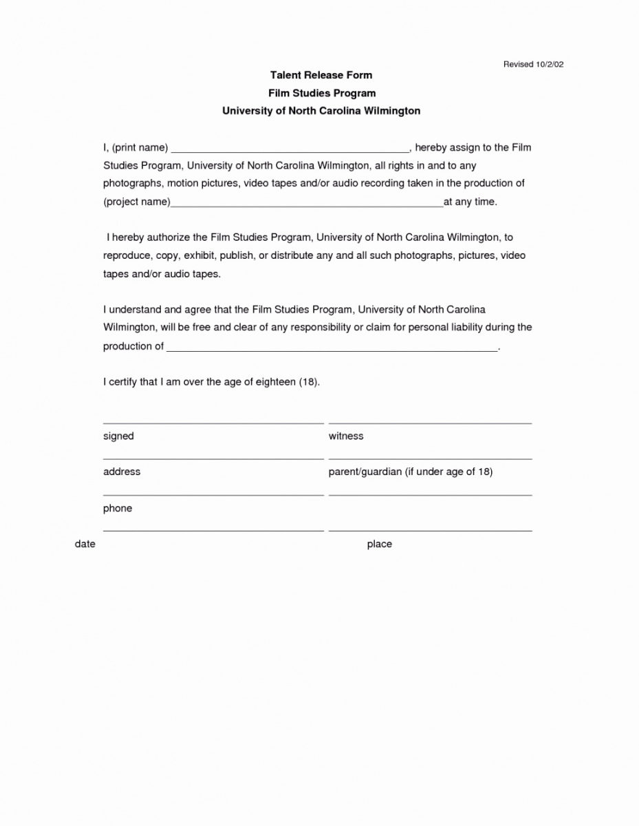 Printable Form Location Release For Filming Template E2 80 93 Ecux Eu And Location Release Form Template Doc