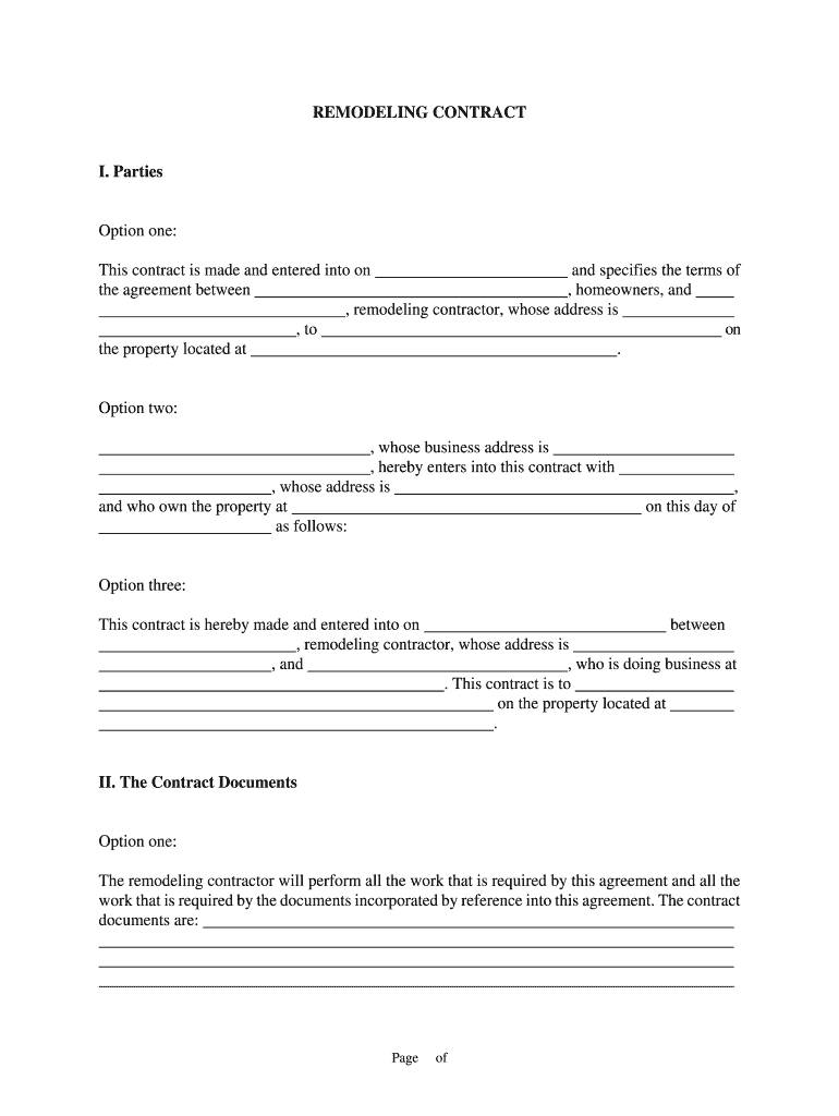 Remodel Contract Template