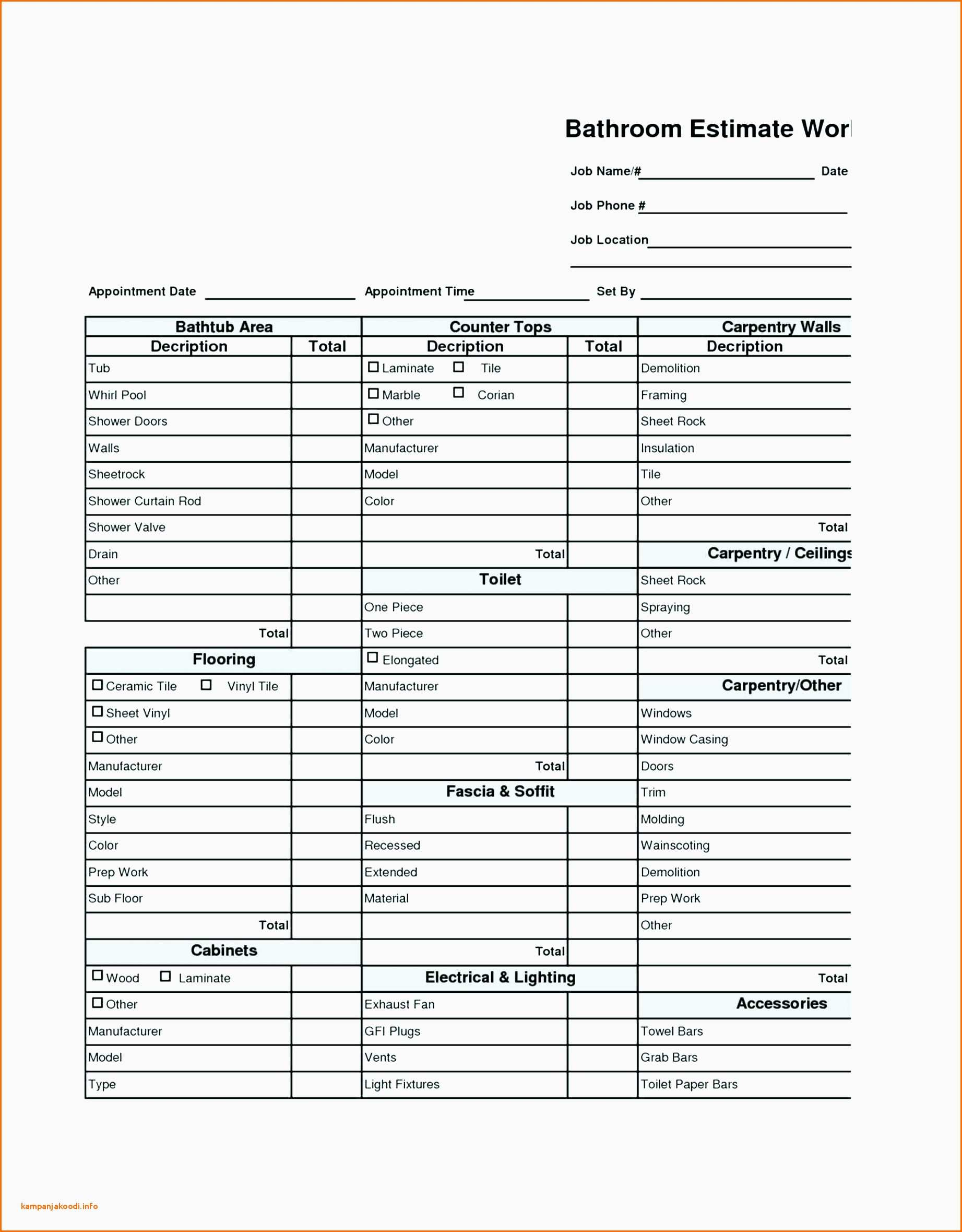 Bathroom Remodel Budget Spreadsheet Renovation Schedule Template Bathroom Renovation Project Management
