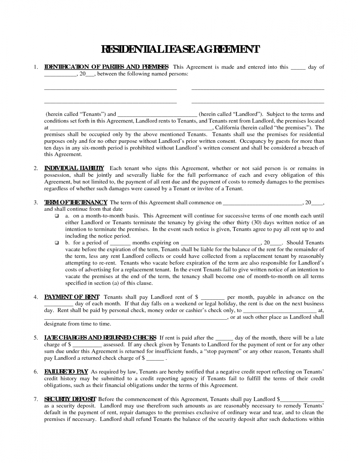 Free Printable Residential Free House Lease Agreement Residential Lease Rent To Own Home Contract Template Word