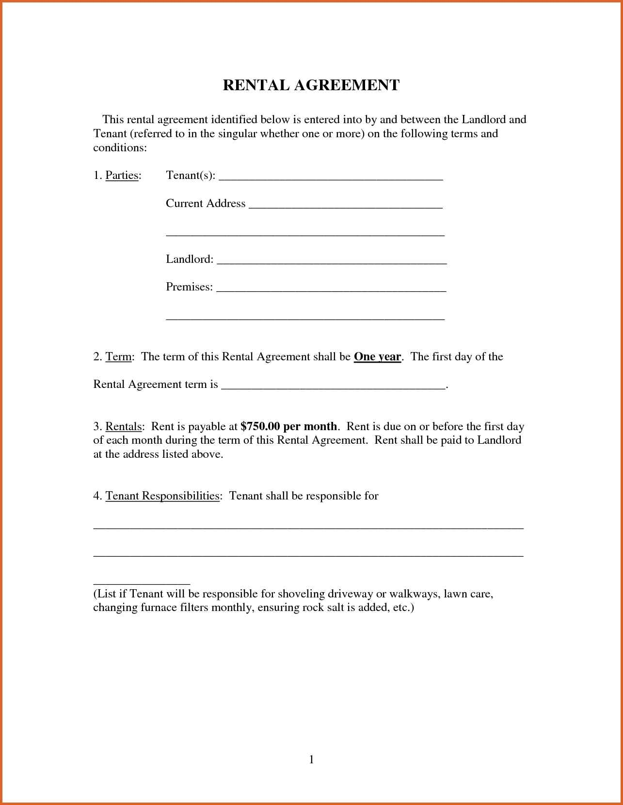 Rental Agreement Rent Lease Template