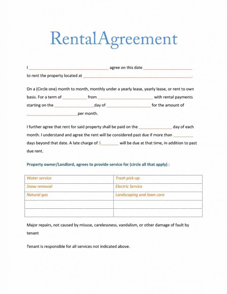 Rental Agreement Simple Sublease Agreement Template