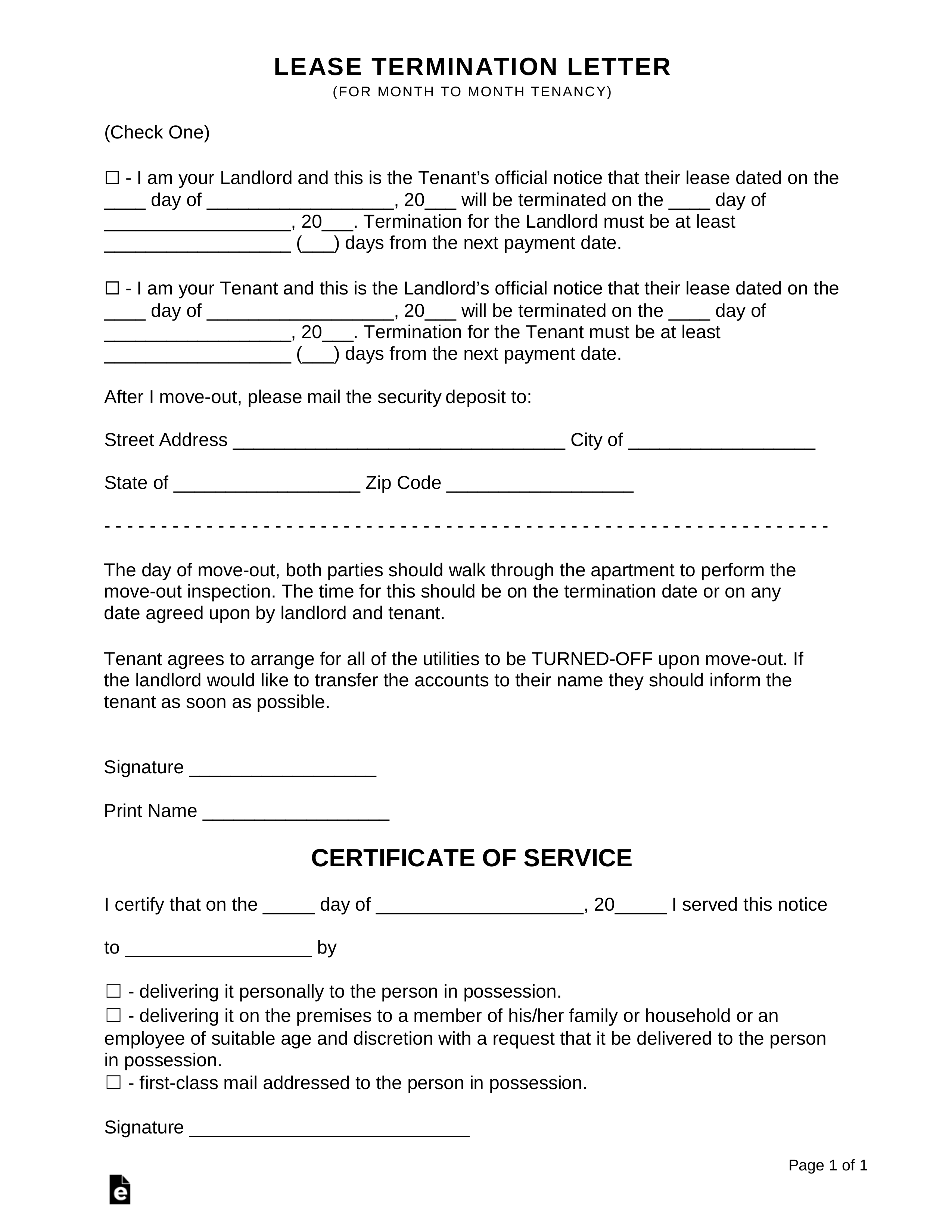Rental Contract Termination Template
