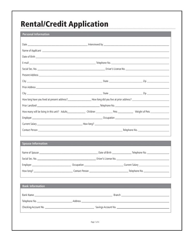 Rental Credit Application Template Free