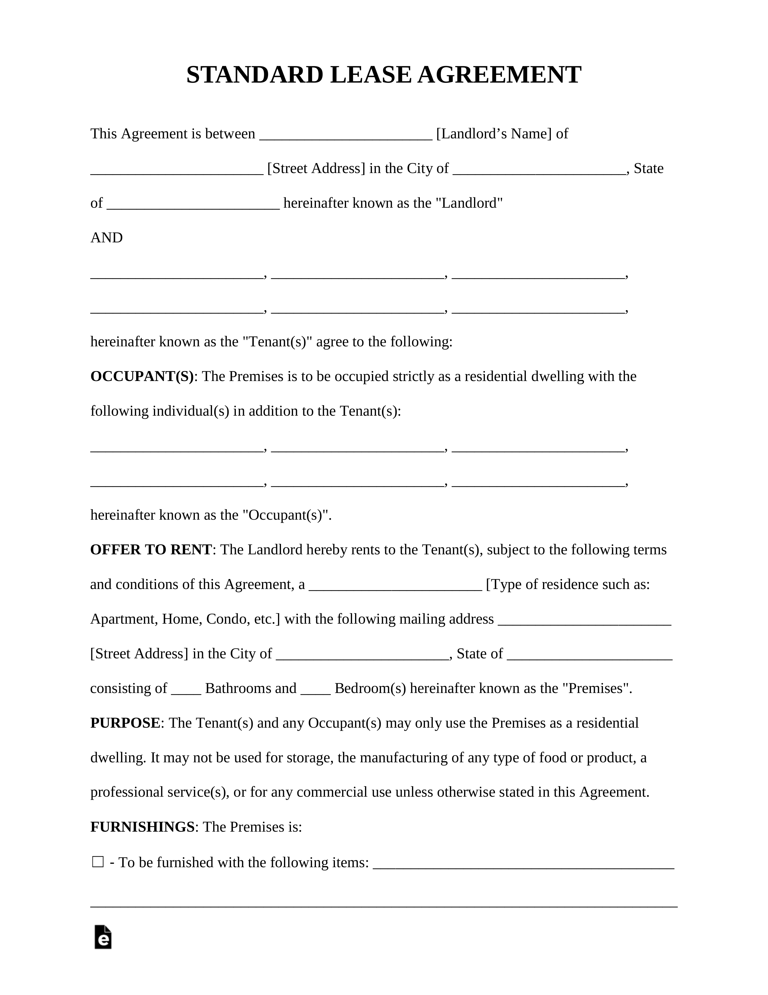 Rental Lease Agreements Templates