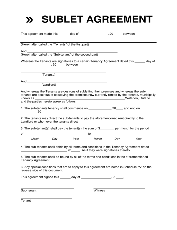 Rental Sublease Agreement Template