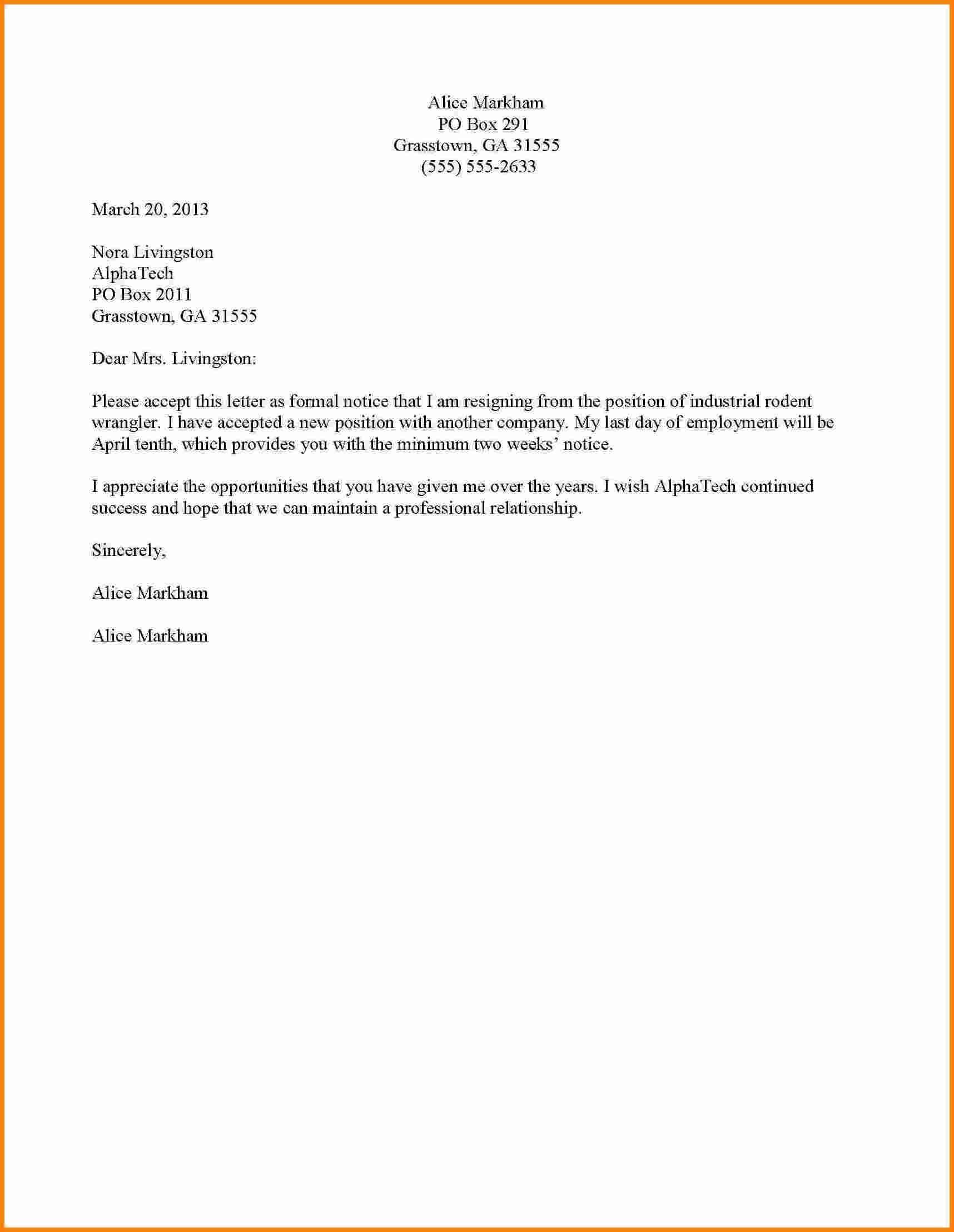 Resign Letter Resignation Template Word