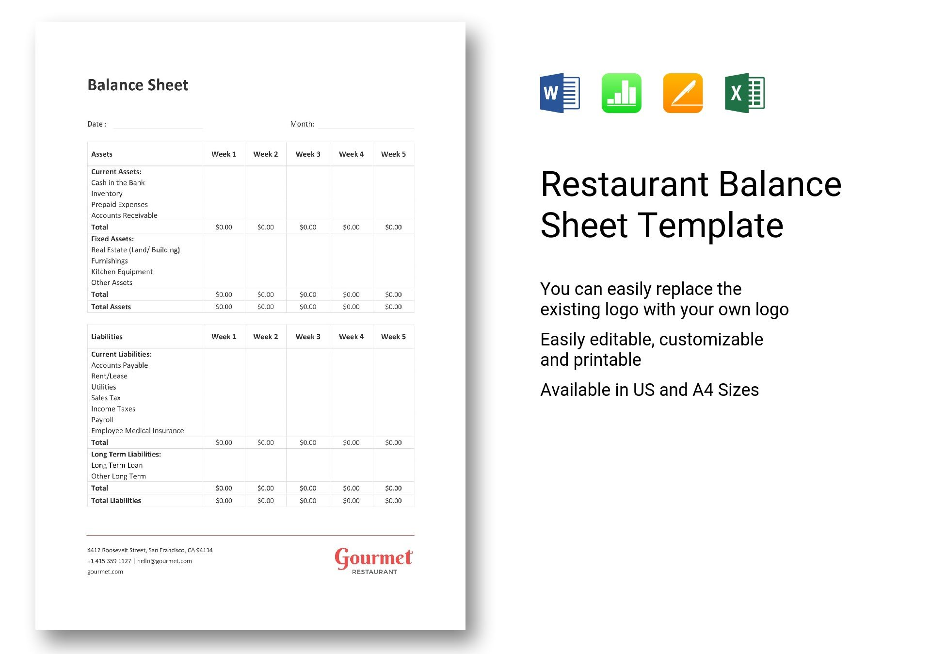 Restaurant Balance Sheet Template Excel