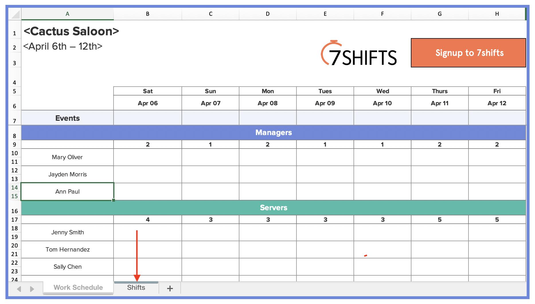 Restaurant Employee Schedule Template