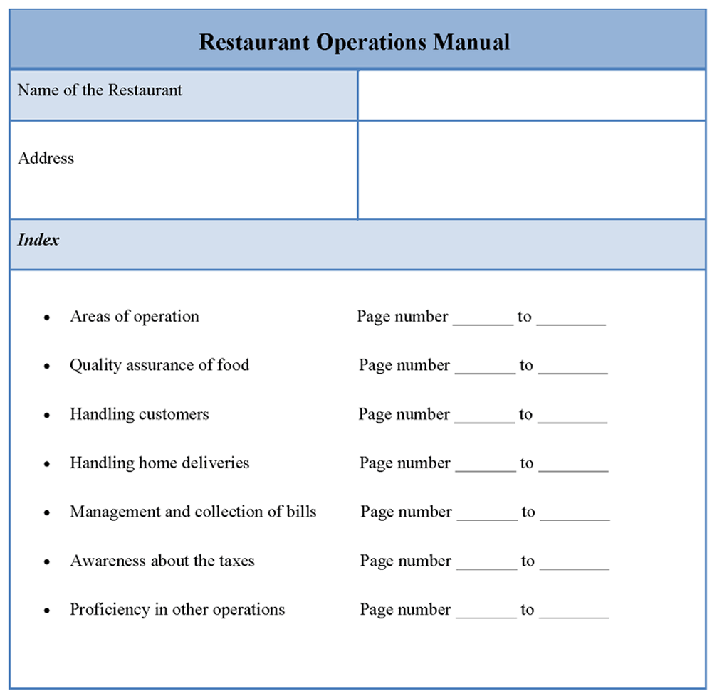 Restaurant Operations Manual Template