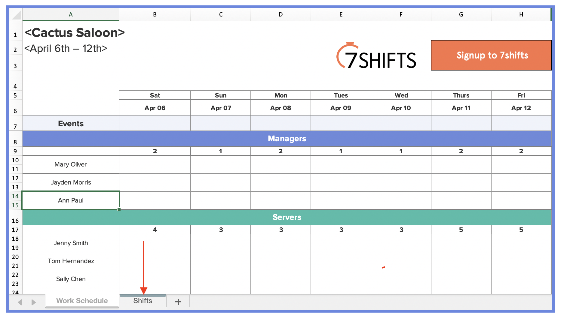Restaurant Shift Schedule Template