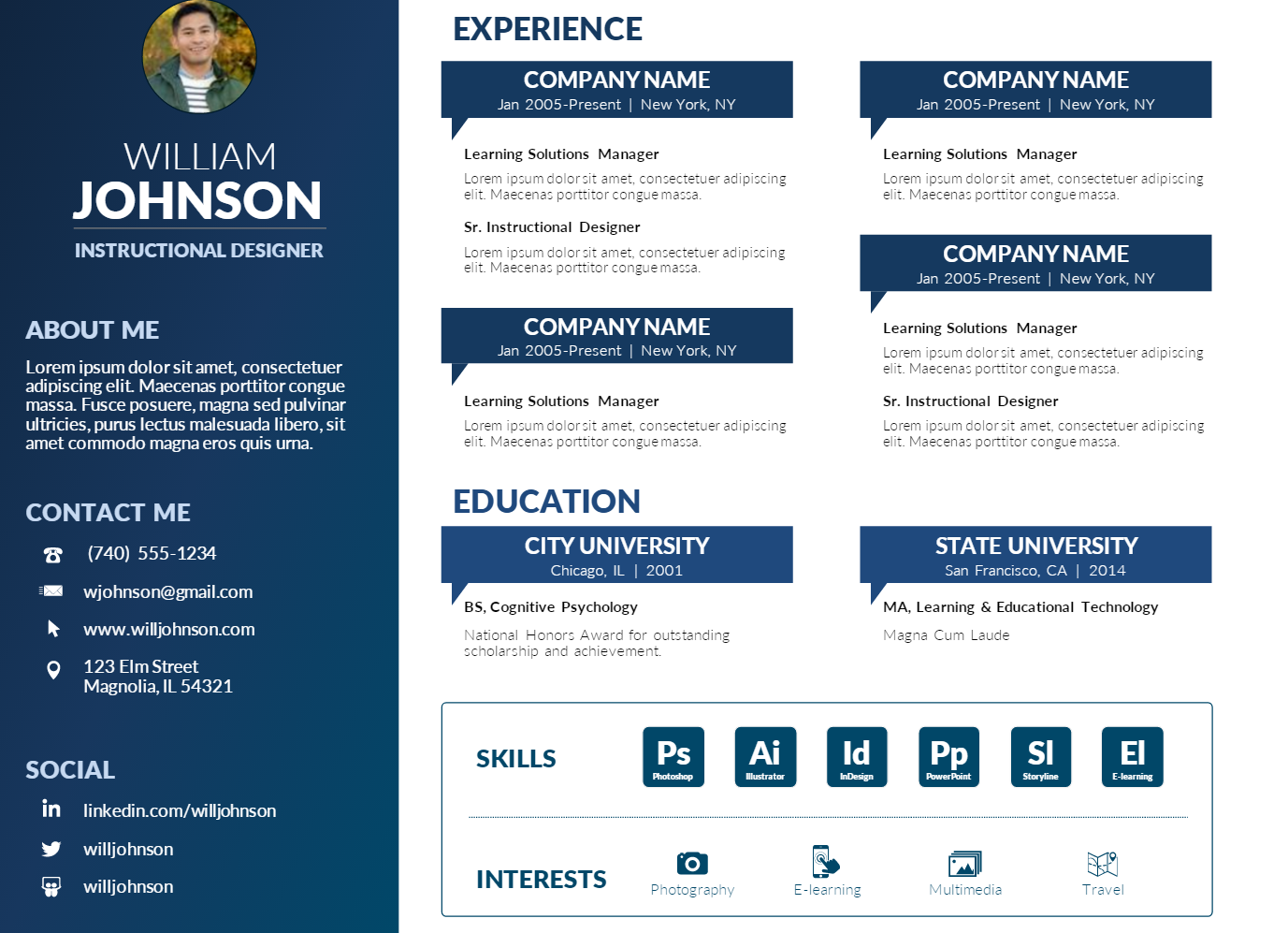 Resume Powerpoint Template Free
