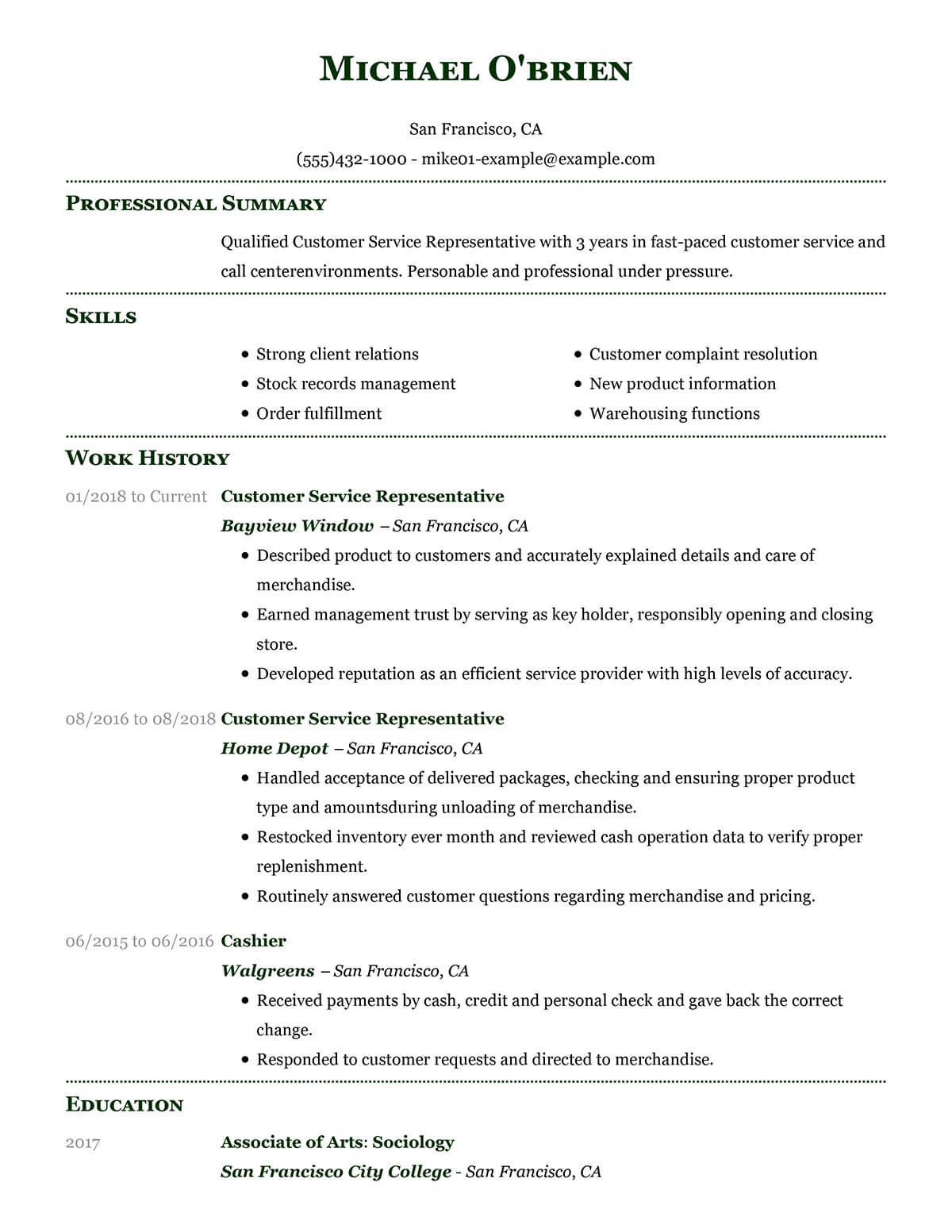 Resume Template For Customer Service Representative
