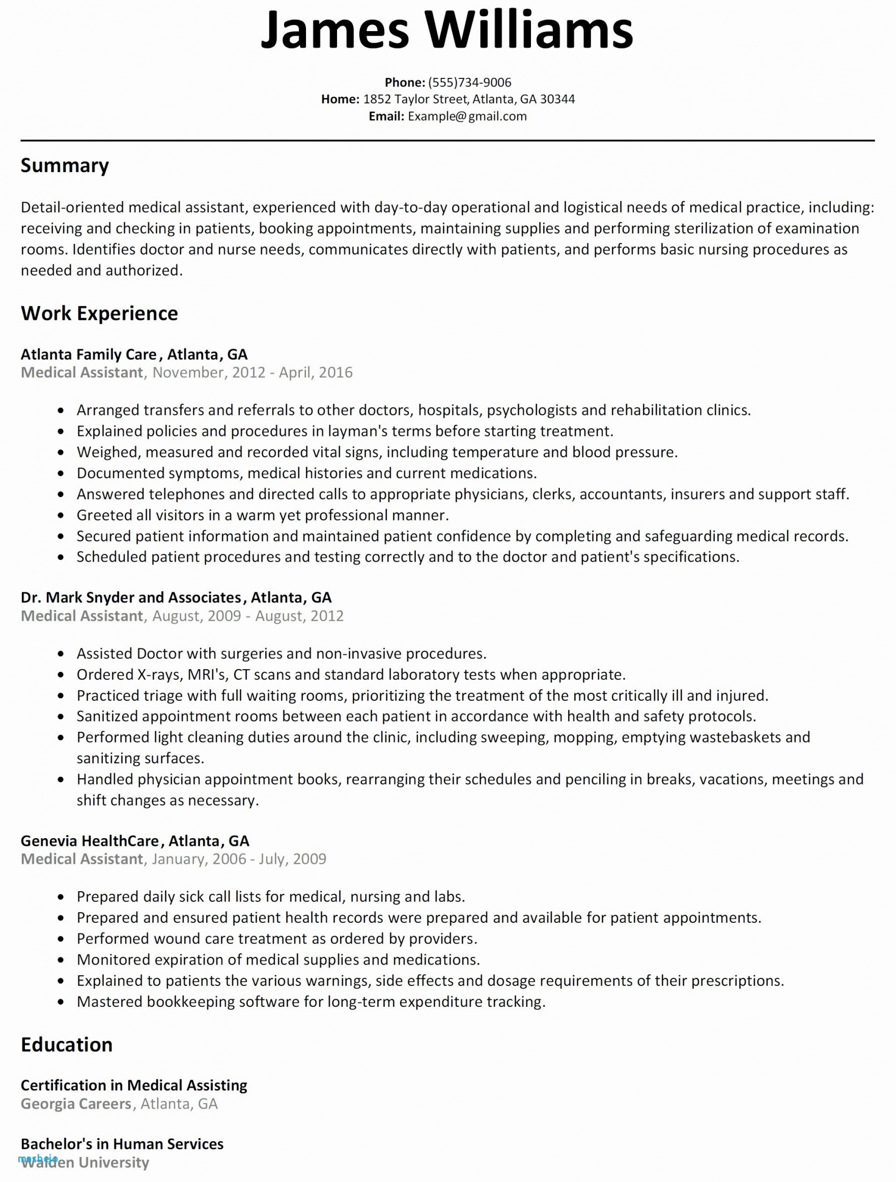 9 Certified Medical Assistant Resume Template Examples Printable
