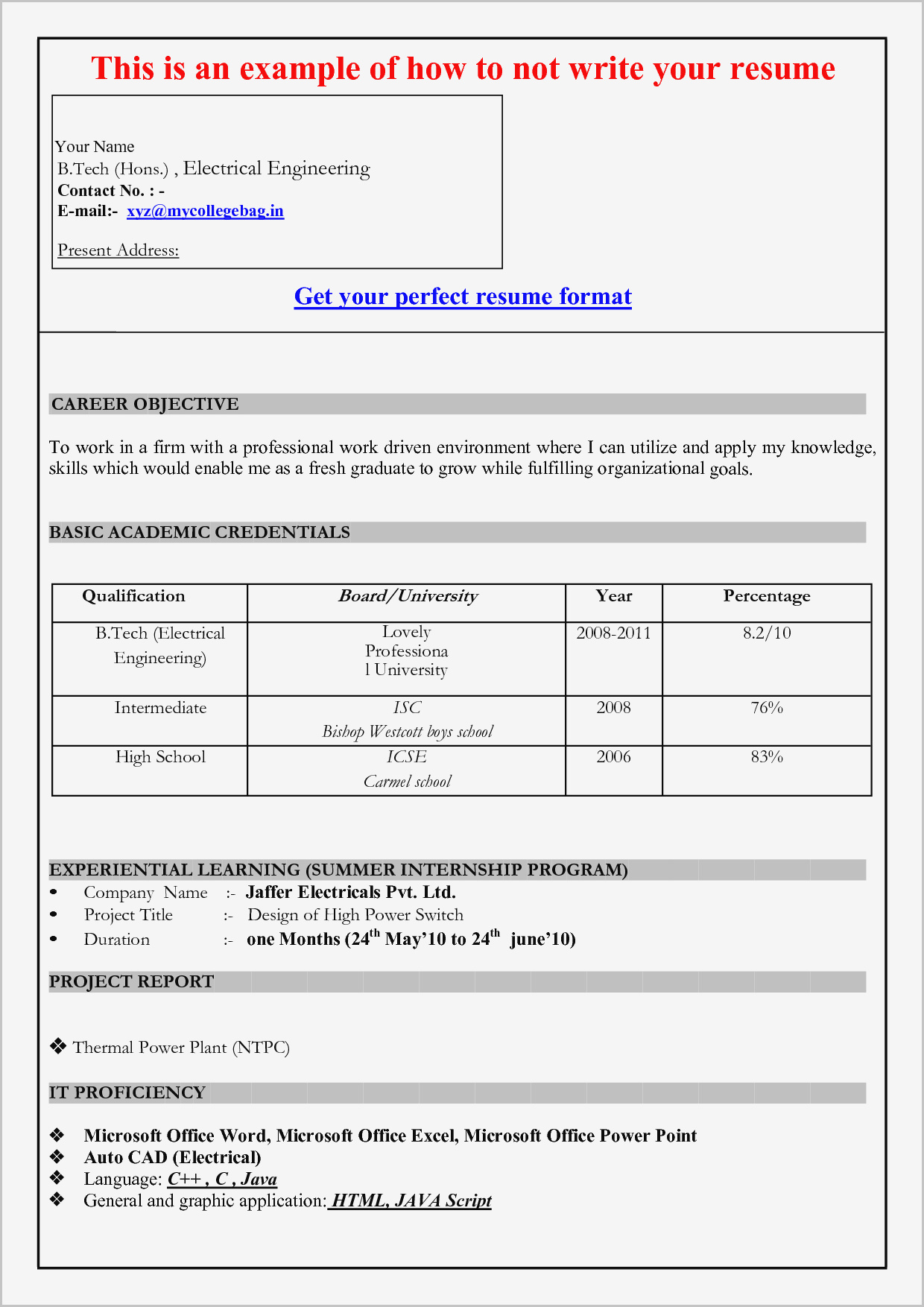 Resume Template For Microsoft Word 2007 Download