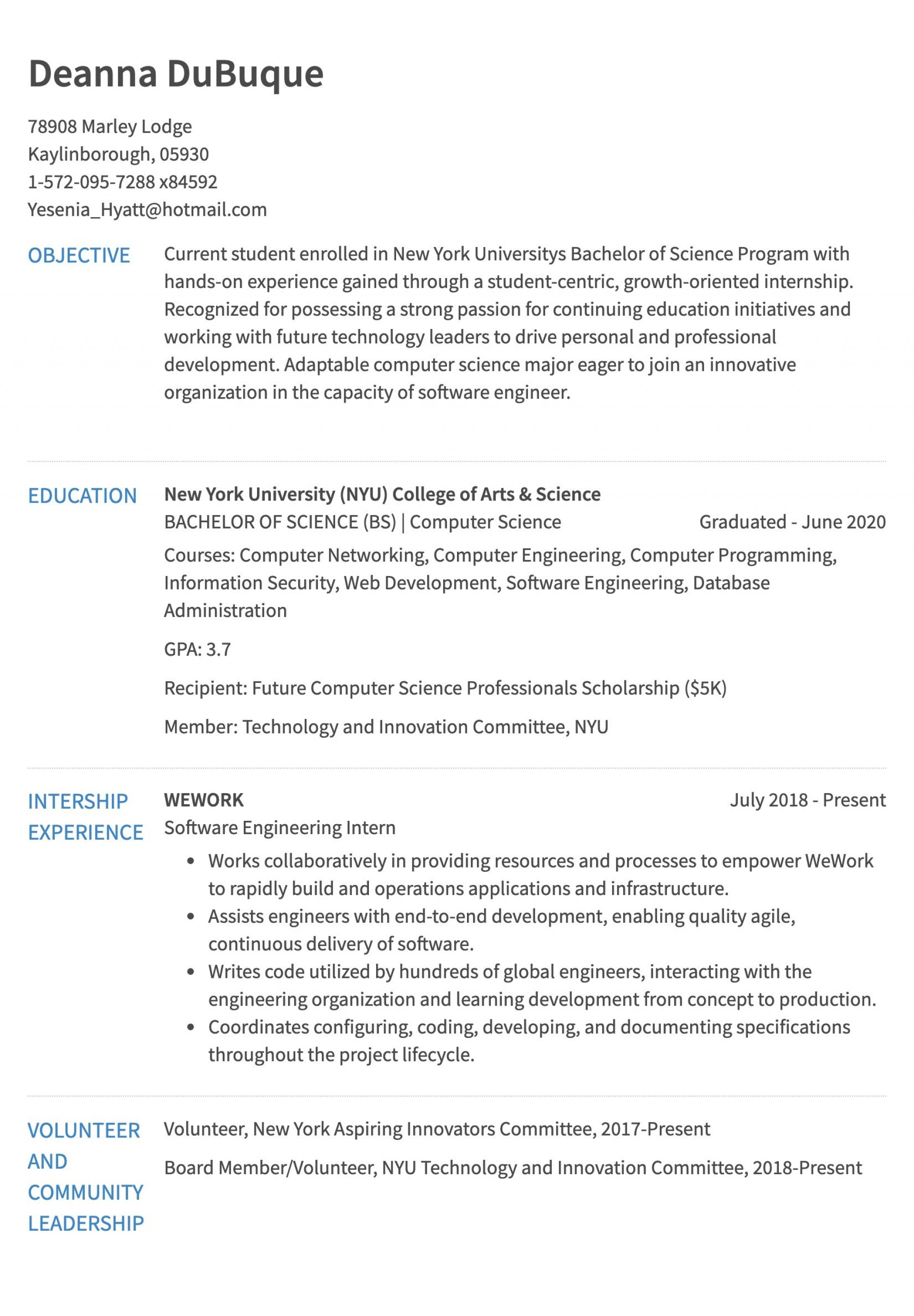 Resume Templates For Internships In Engineering