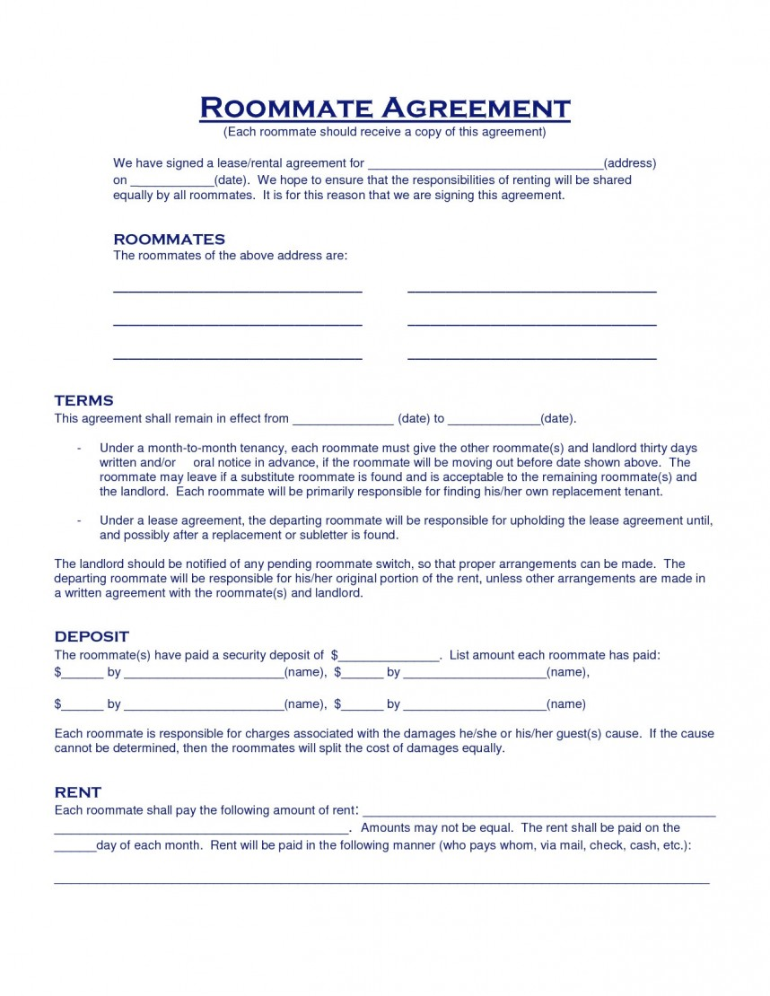 Roommate Lease Agreement Template Texas