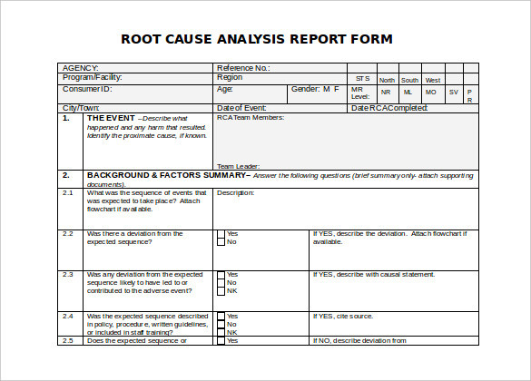 Root Cause Analysis Form Unique 30 Root Cause Analysis Templates Word