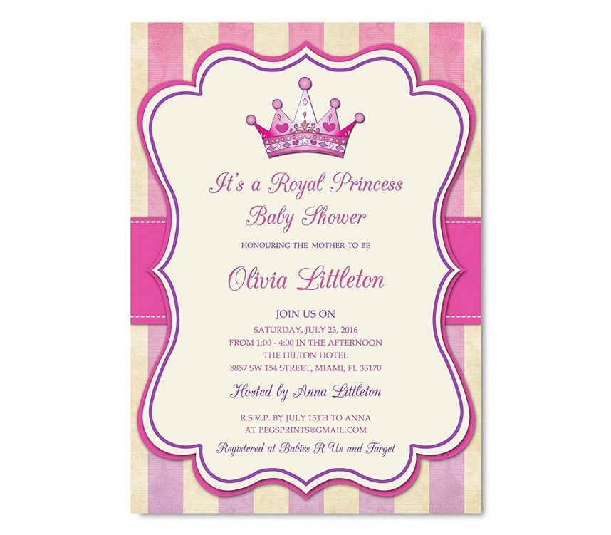 Royal Princess Baby Shower Invitations Templates