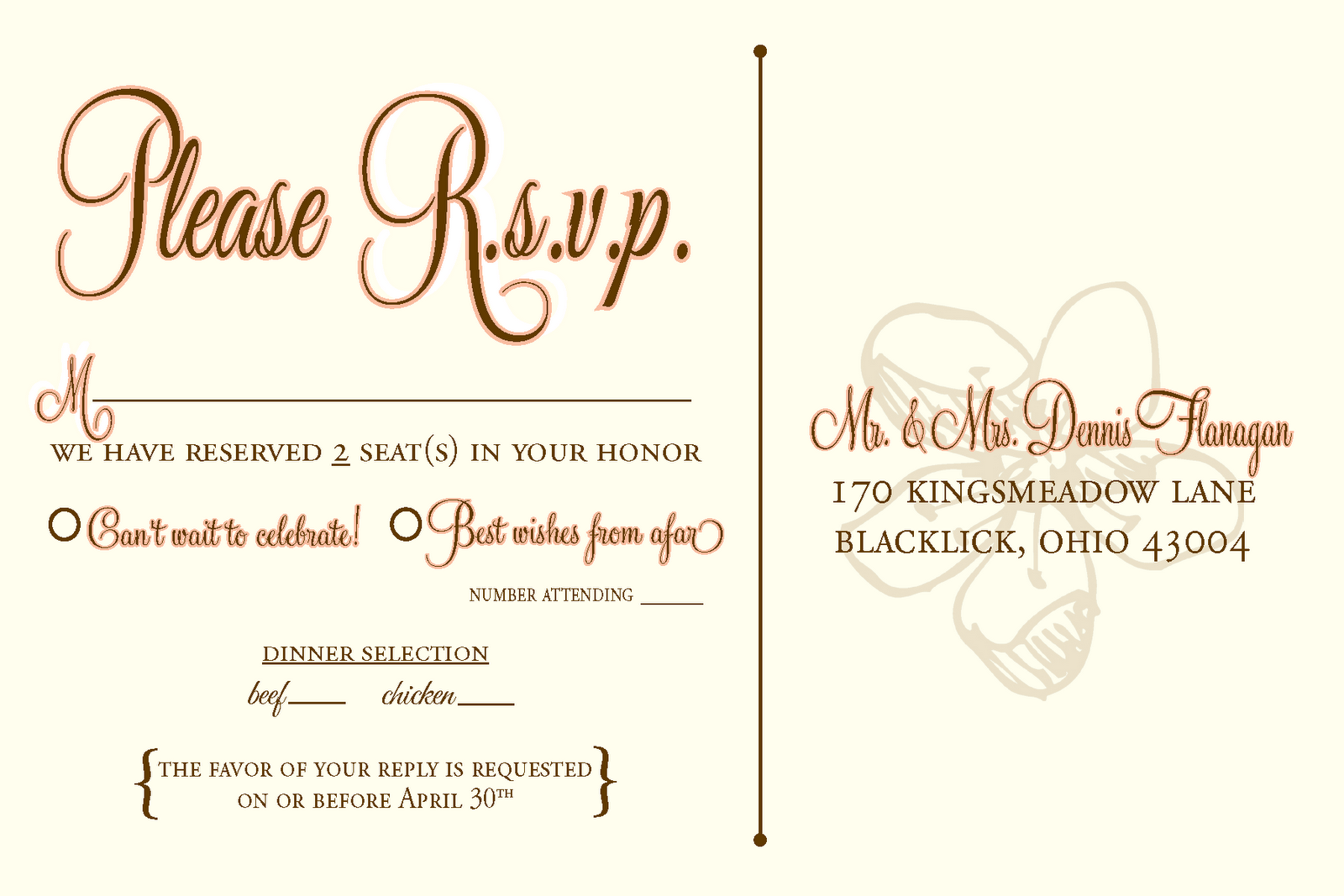 Rsvp Wedding Template Wording