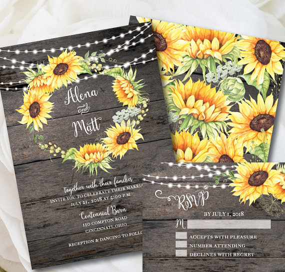 Rustic Sunflower Invitation Template
