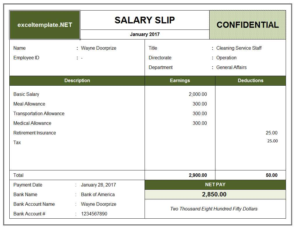 Salary Pay Stub Template Excel
