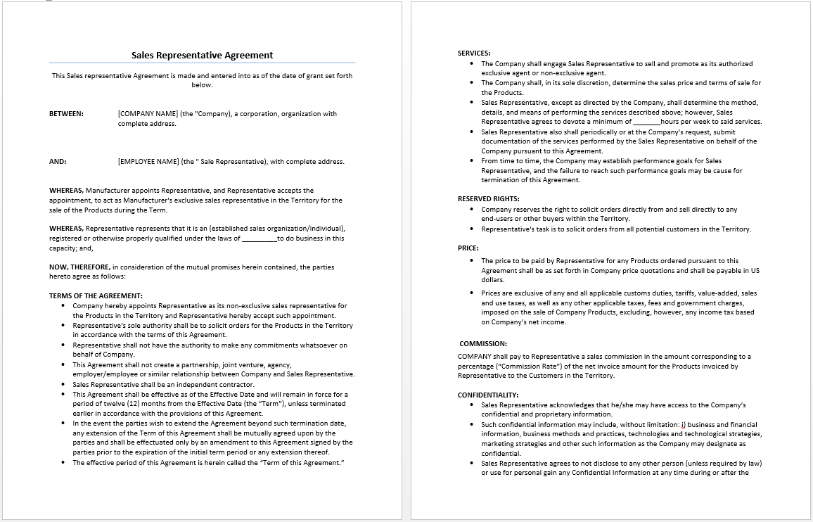 Sales Representative Employee Sales Commission Agreement Template