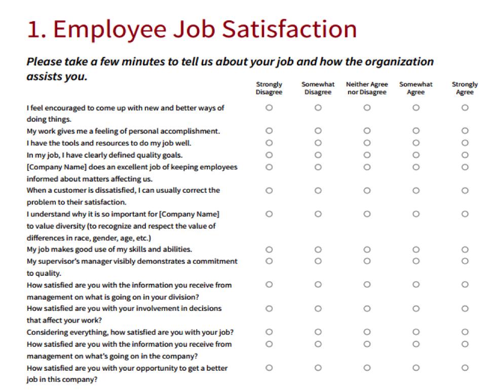 Sample Employee Survey Templates
