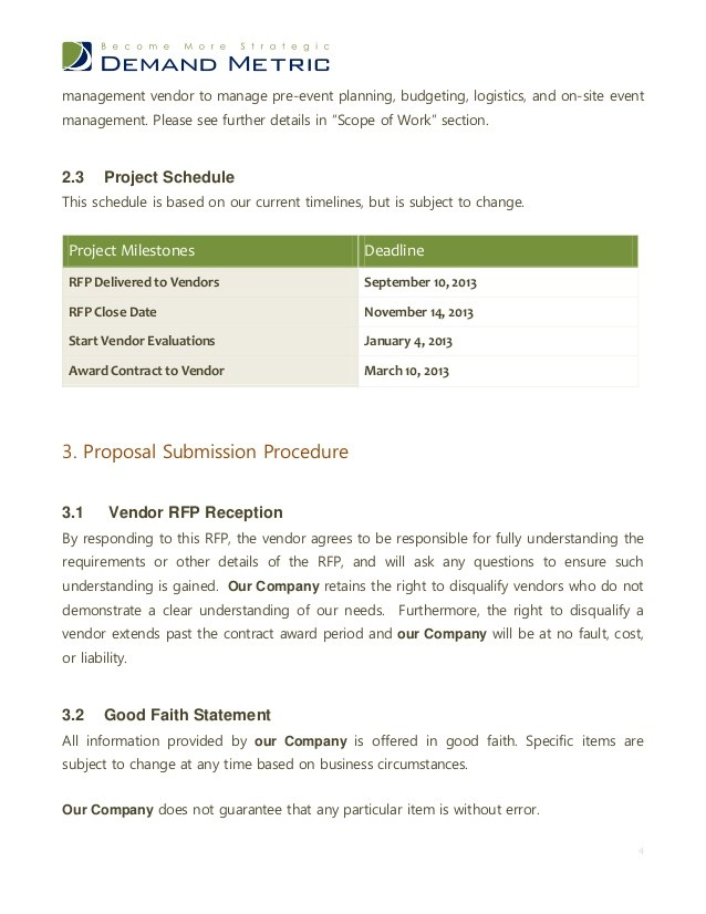 Sample Event Rfp Template