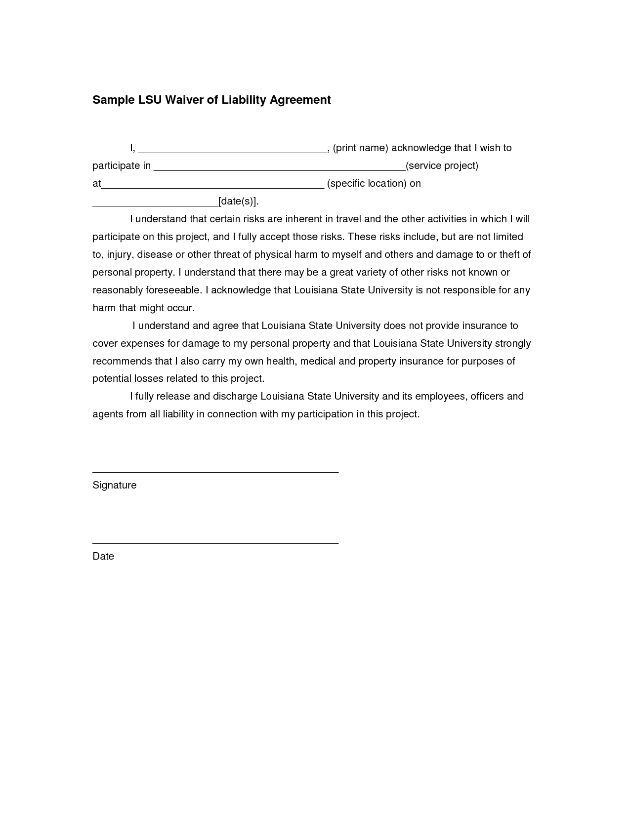 Sample Waiver Of Liability Template