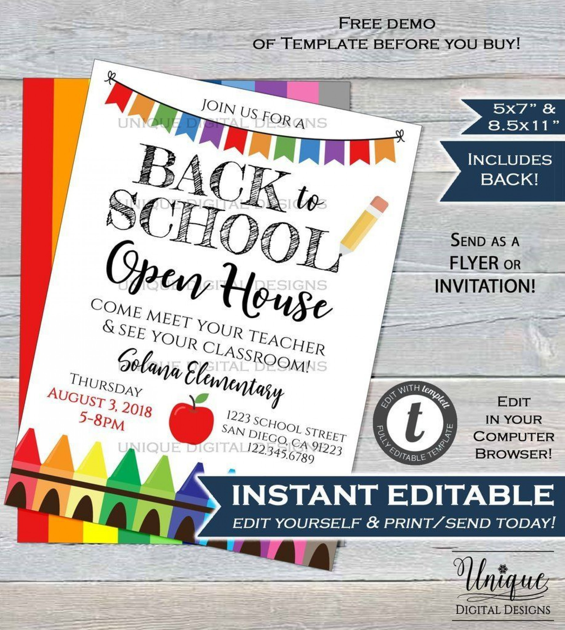 School Open House Invitation Template Free