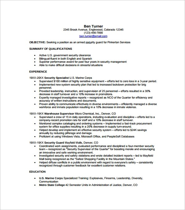 Security Guard Resume Template For Free