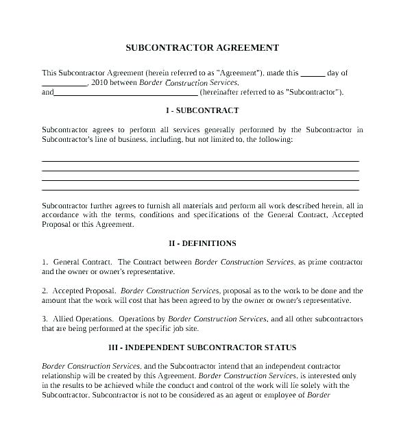 Self Employed Contractor Agreement Template Uk