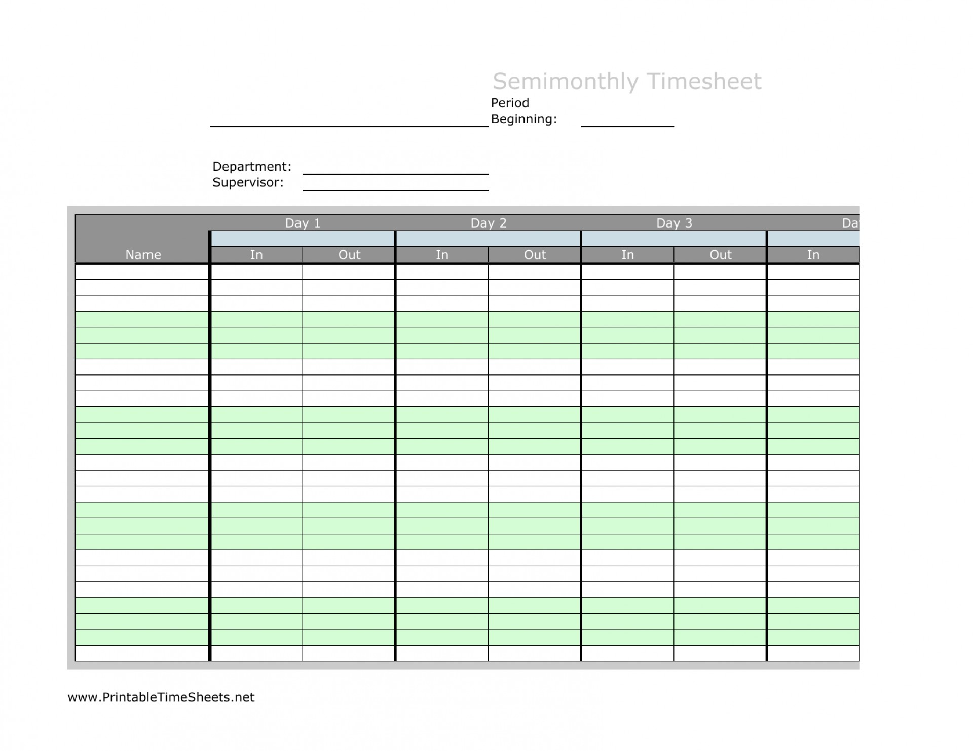 Semi Monthly Timesheet Template Excel Free Download