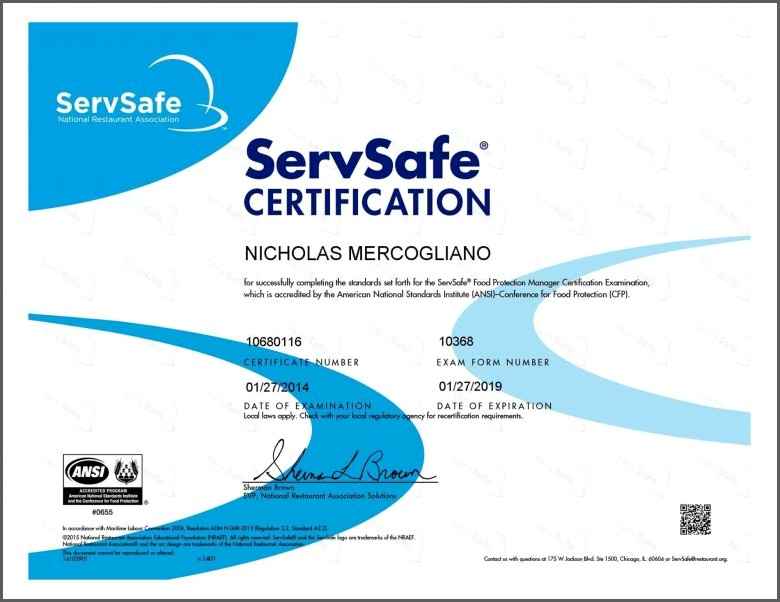 Servsafe Certification Test Online Inspirational Exam Certificate Template