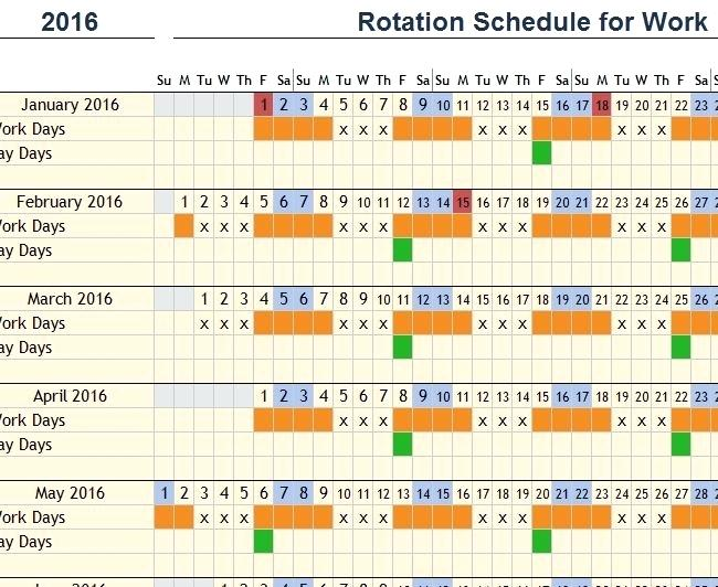 Shift Pattern Rotating Shift Schedule Template