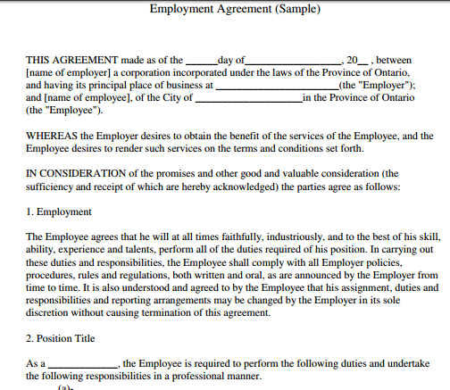 Simple Temporary Employment Contract Template