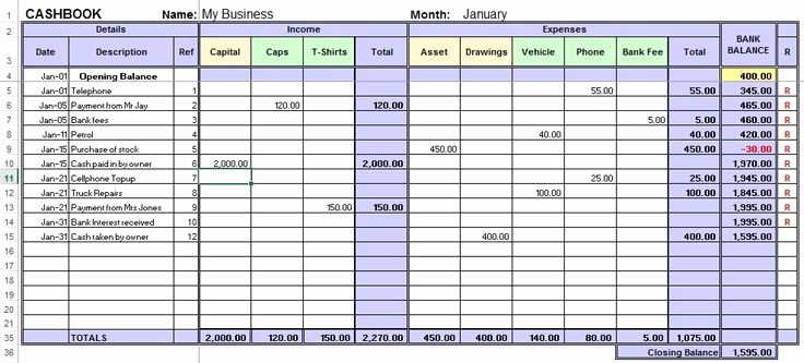 Example Small Business Accounting Excel Template