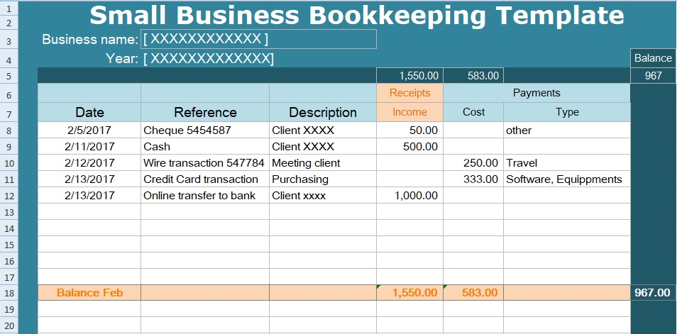 Small Business Bookkeeping Spreadsheet Template