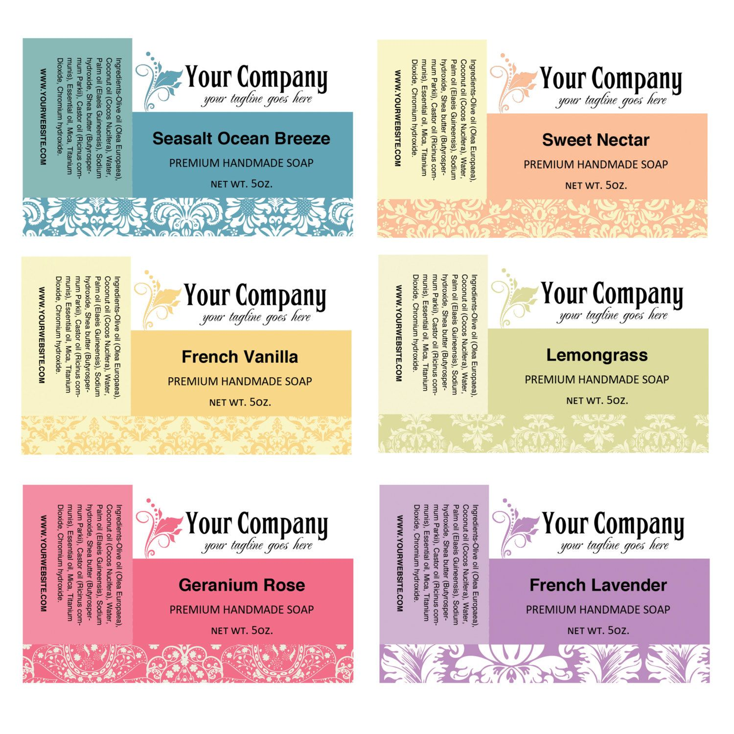 Soap Labels Template