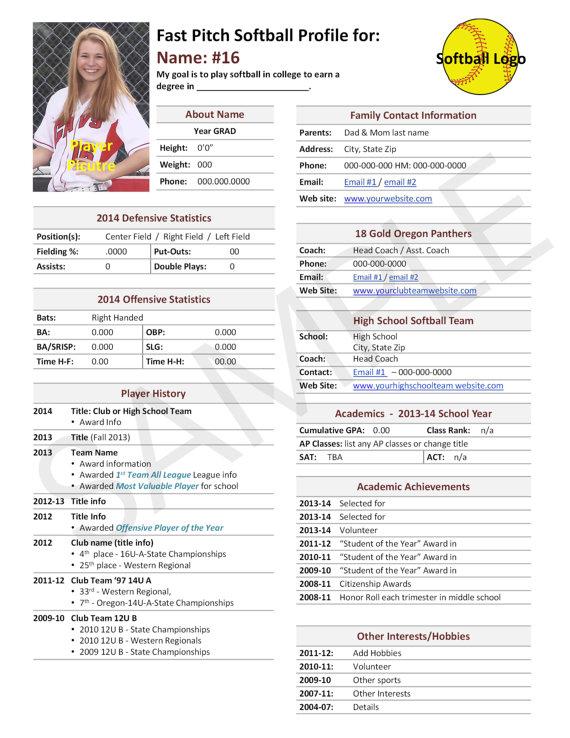 Softball Recruiting Profile Template