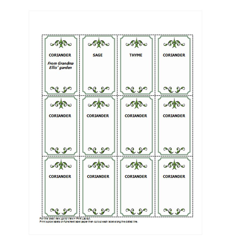 Spice Jar Labels Template