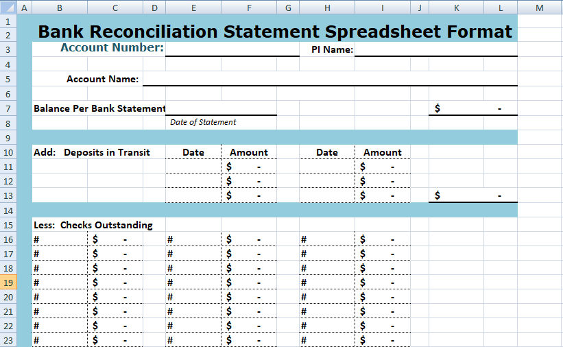 Spreadsheet Simple Bank Reconciliation Template