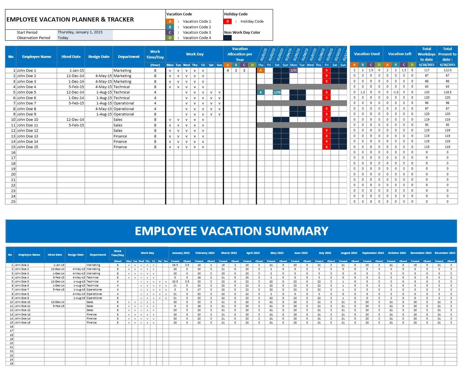 Staff Vacation Planner Template